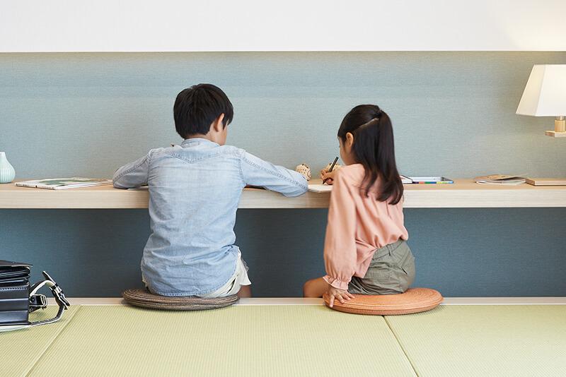 兵庫で安心して子育てできる住宅の小上がり畳コーナー