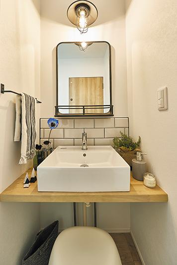 兵庫でスキップフロアのある家の洗面所