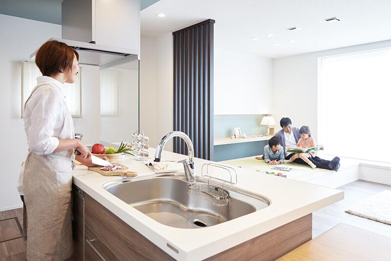 兵庫の三階建て住宅のキッチン