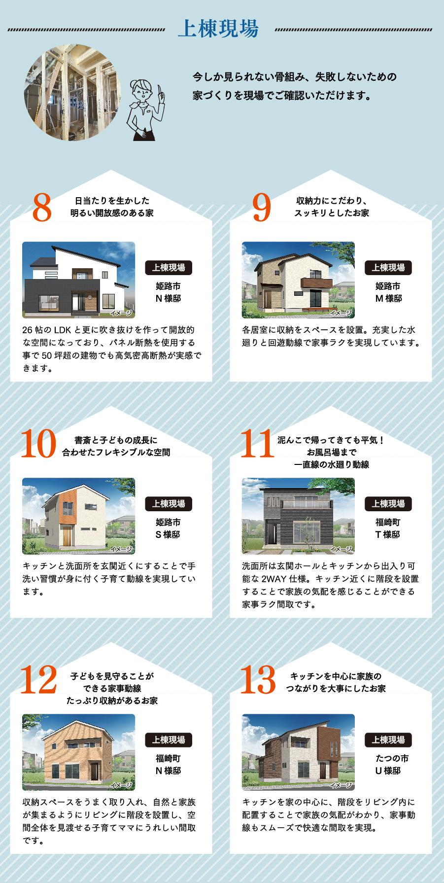 上棟現場6邸。今しか見られない骨組み、失敗しないための家づくりを現場でご確認いただけます。